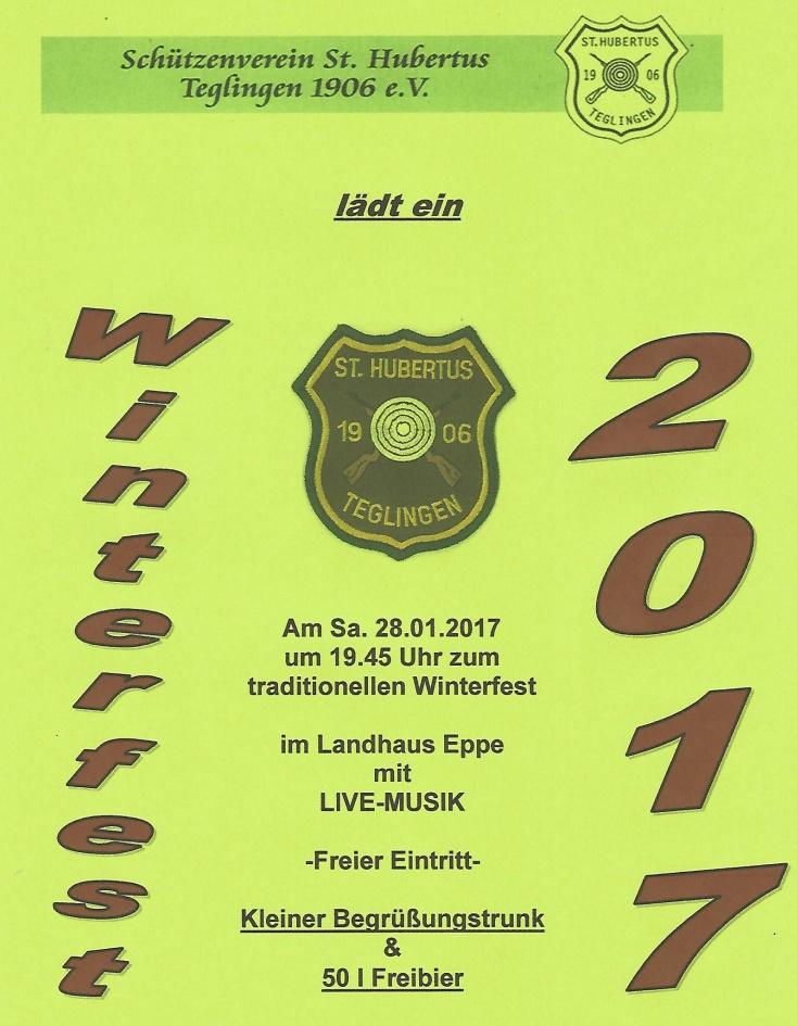Einladung des Schützenvereins St. Hubertus Teglingen zum Winterfest 2017